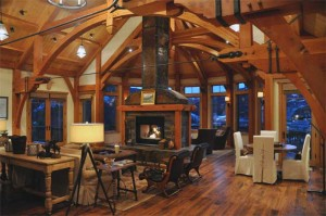 Great Room seating and fireplace