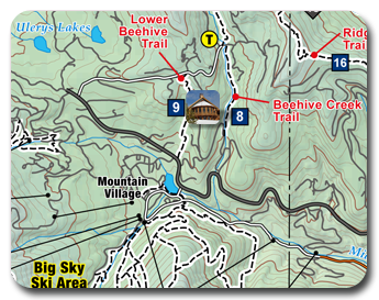 small portion of Big Sky hiking trails map
